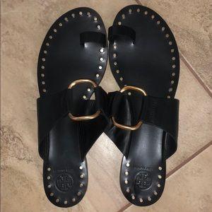 Tory Burch Black Ravello Gold Studded Sandals